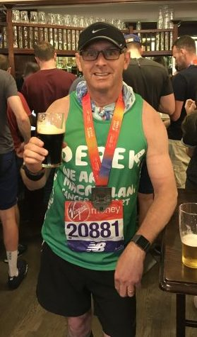 Derek after finishing a very warm London Marathon